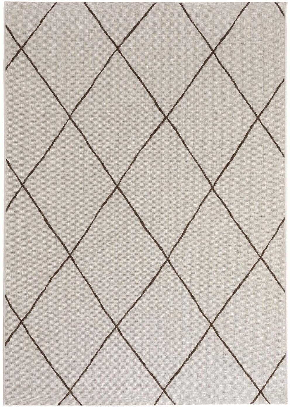 In- & Outdoor-Teppich Metro Check, 100% Polypropylen, Creme, B 80 x L 150 cm (Größe XS)