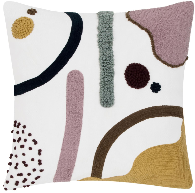 Funda de cojínWassily, 100%algodón, Multicolor, blanco, An 45 x L 45 cm