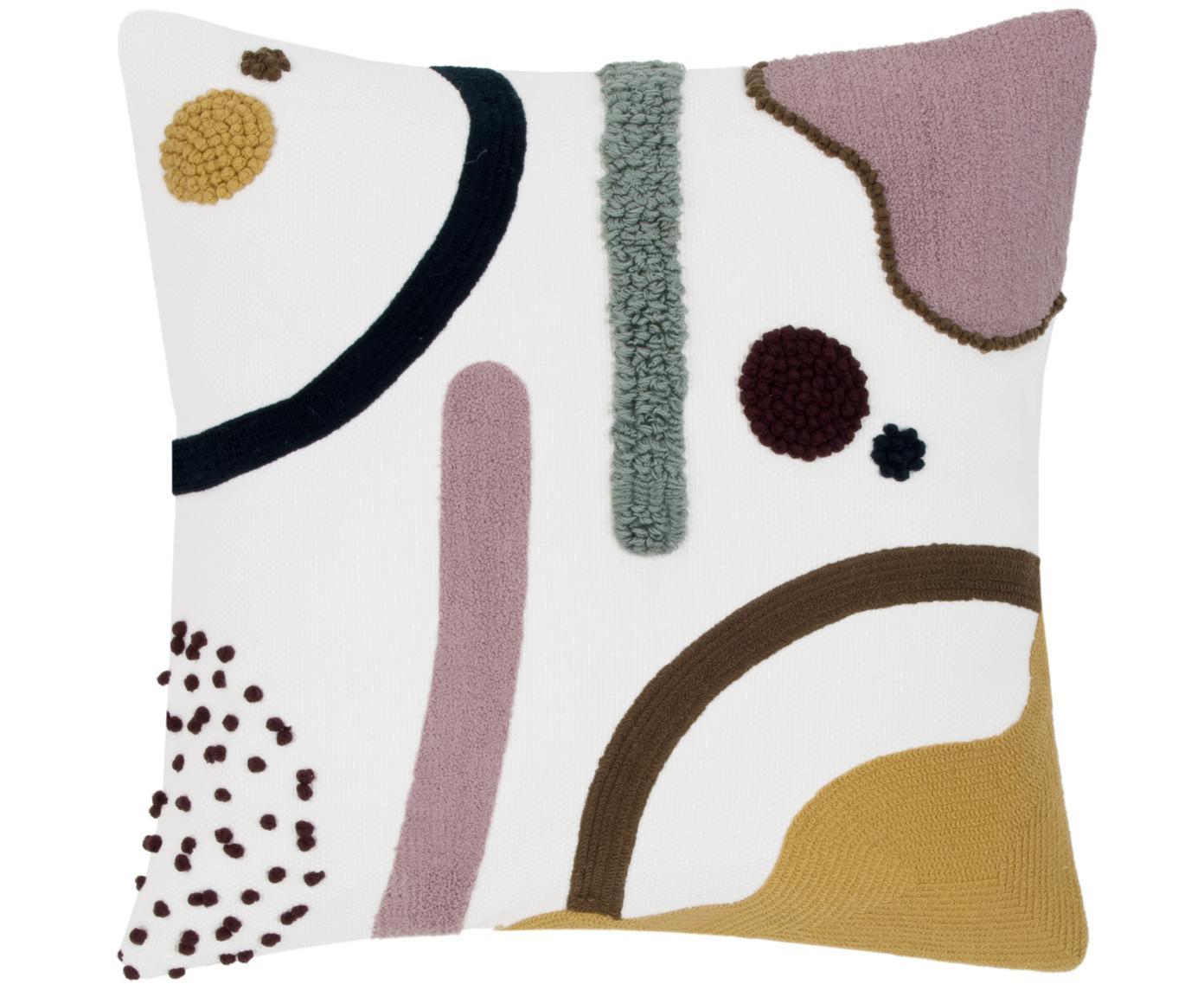 Funda de cojínWassily, Algodón, Multicolor, blanco, An 45 x L 45 cm