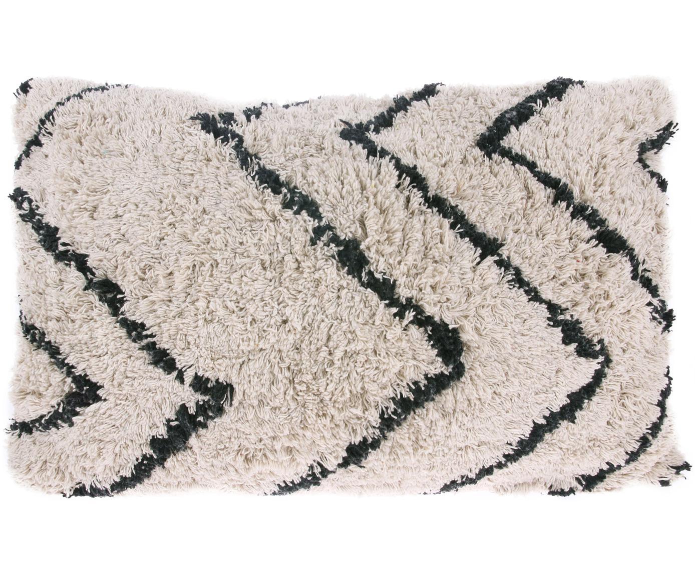 Kussen met patroon Zigzag met getuft oppervlak, met vulling, Katoen, Gebroken wit, zwart, 40 x 60 cm