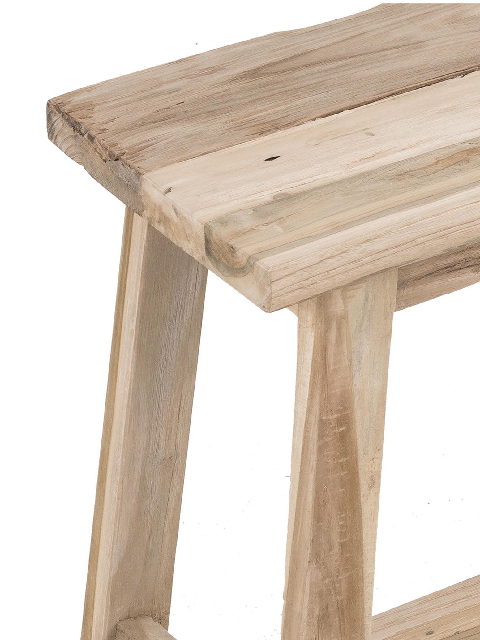 Taburete de madera de teca Lawas, Madera de teca natural, Teca, An 50 x Al 46 cm