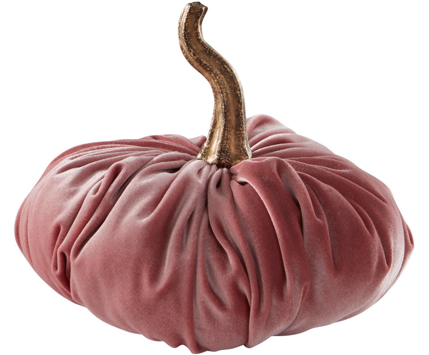 Calabaza decorativa de terciopelo Pumpis, 15%poliresina, 35%acrílico, 25%poliéster, 25%relleno de arena de cuarzo, Rosa, Ø 19 x Al 18