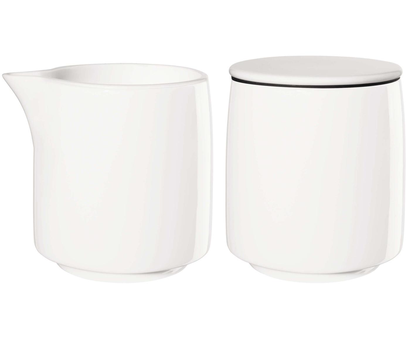 Komplet z mlecznikiem i cukiernicą Safe, 2 elem., Porcelana, Biały, czarny, Ø 8 x W 8 cm
