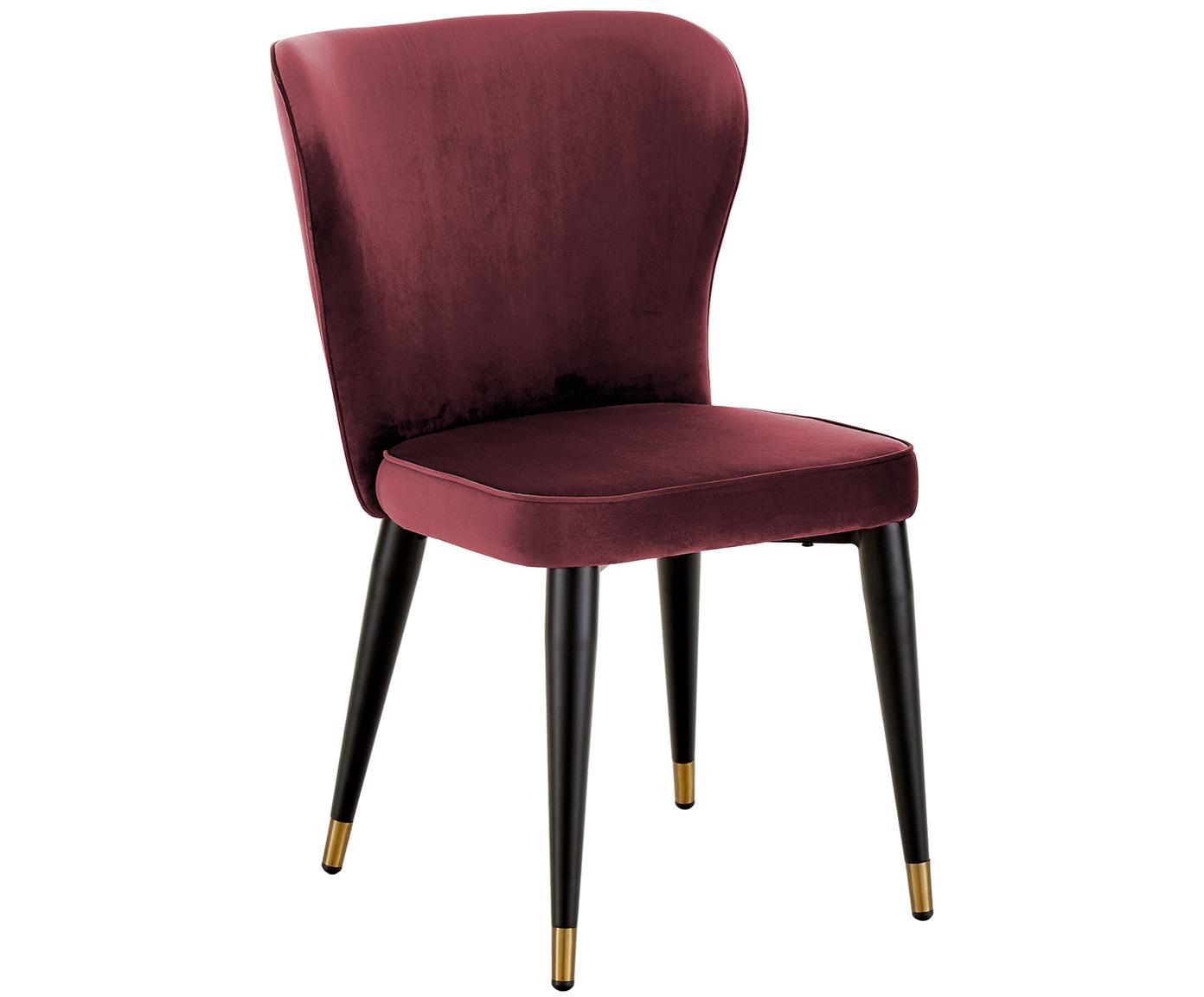 Klassieke fluwelen stoel Cleo, Bekleding: fluweel (polyester), Poten: gepoedercoat metaal, Bordeauxrood, B 51 x D 62 cm