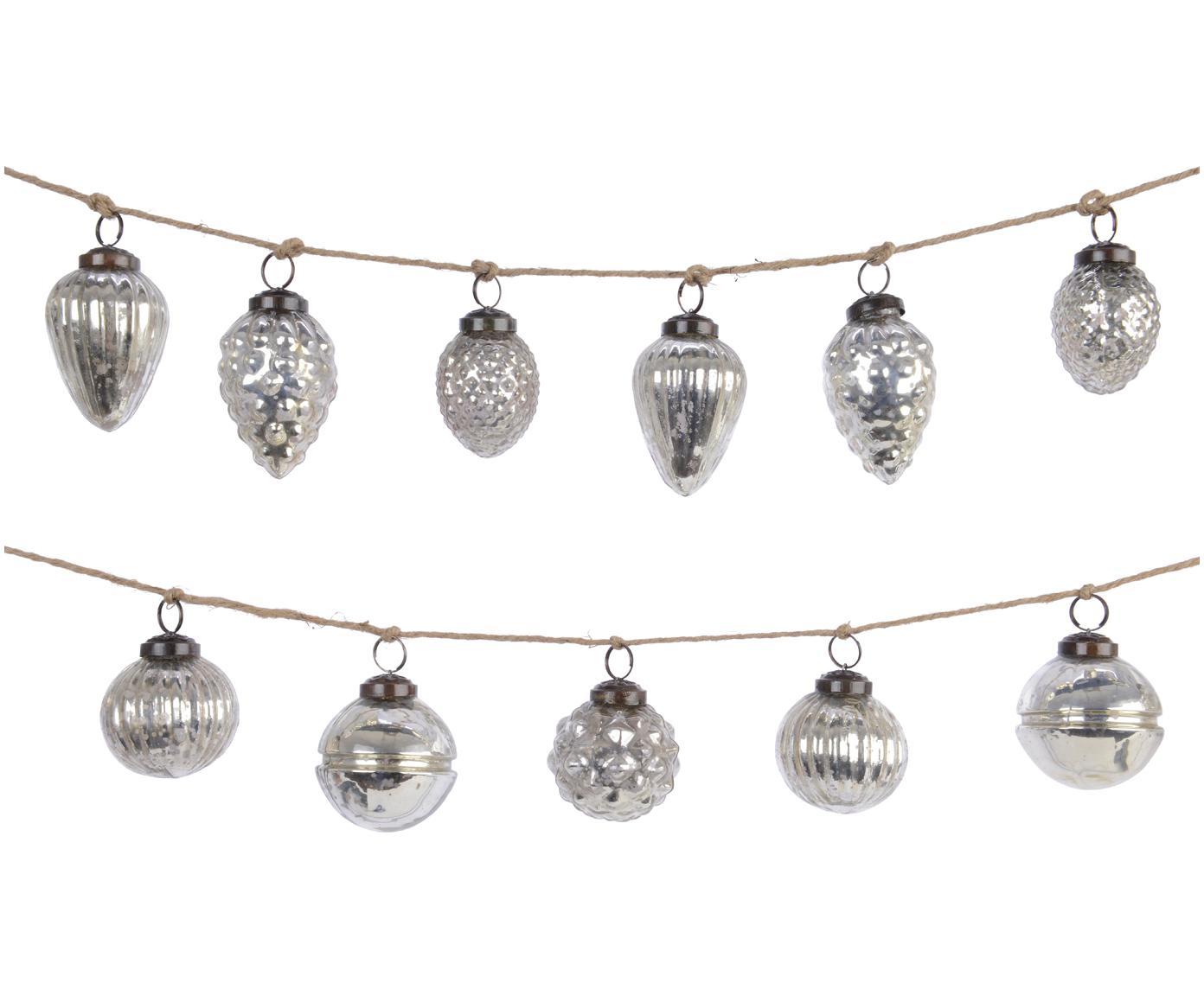 Set de guirnaldas navideñas Dil, 2pzas., Vidrio, Plata, L 120 cm