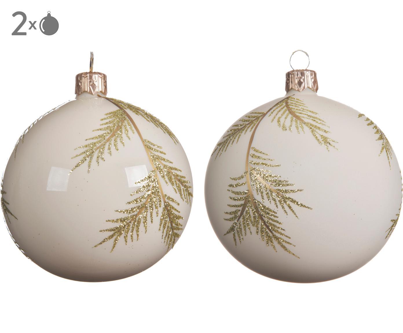 Kerstballenset Zian, 2-delig, Glas, Gebroken wit, goudkleurig, Ø 8 cm