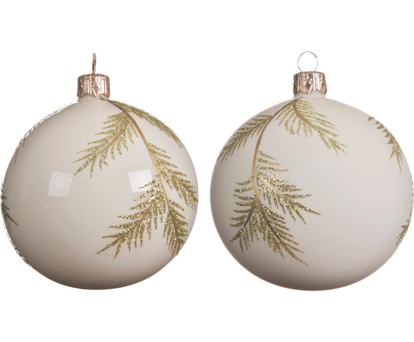 Weihnachtskugel-Set Zian Ø8cm, 2-tlg., Glas, Gebrochenes Weiss, Goldfarben, Ø 8 cm