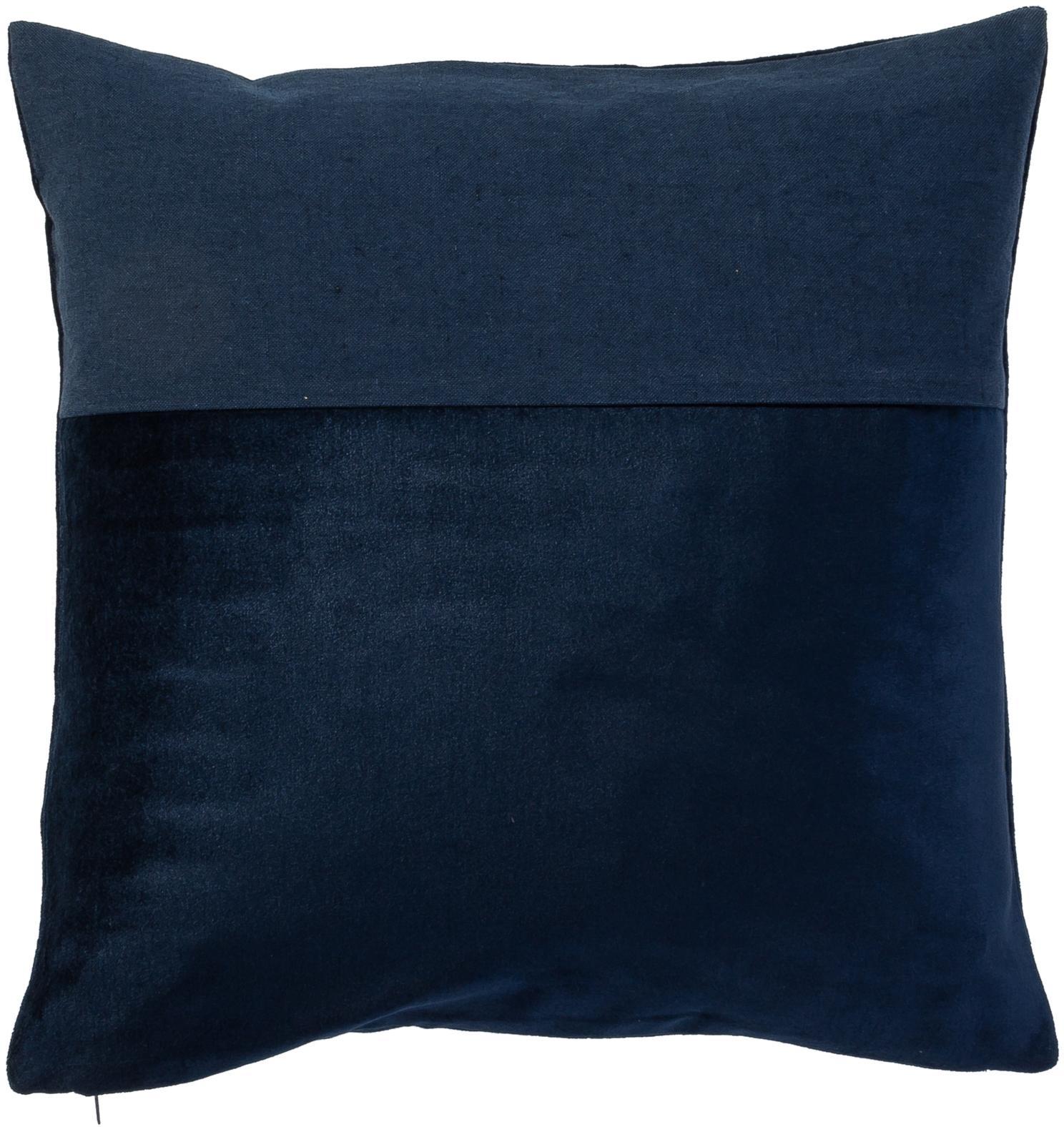 Funda de cojín de terciopelo y lino Adelaide, Parte delantera: 50%algodón, 50%lino, Azul oscuro, An 40 x L 40 cm