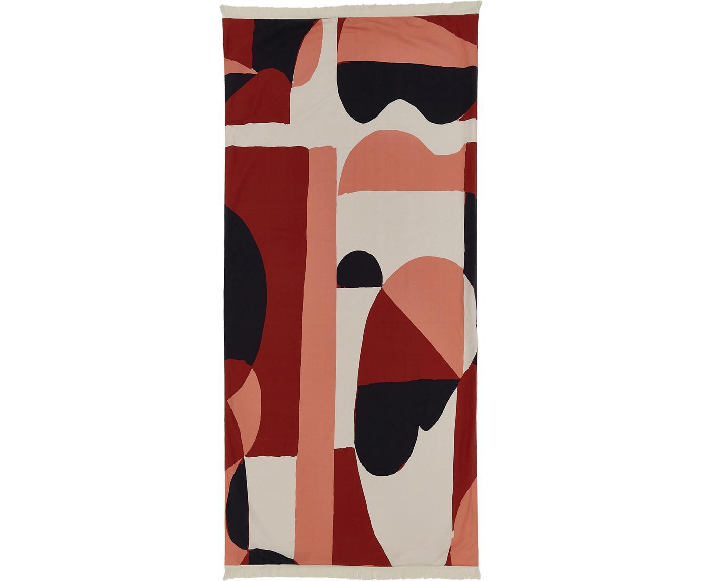 Hamamtuch Winwood mit Frottee-Rückseite und geometrischem Print, Vorderseite: 100% Baumwolle, leichte Q, Rückseite: Frottee, Rot, Rosa, Beige, Schwarz, 86 x 190 cm