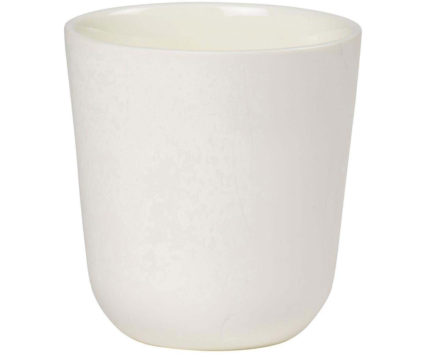 Beker Nudge in wit mat/glanzend, 4 stuks, Porselein, Crèmekleurig, Ø 9 x H 10 cm