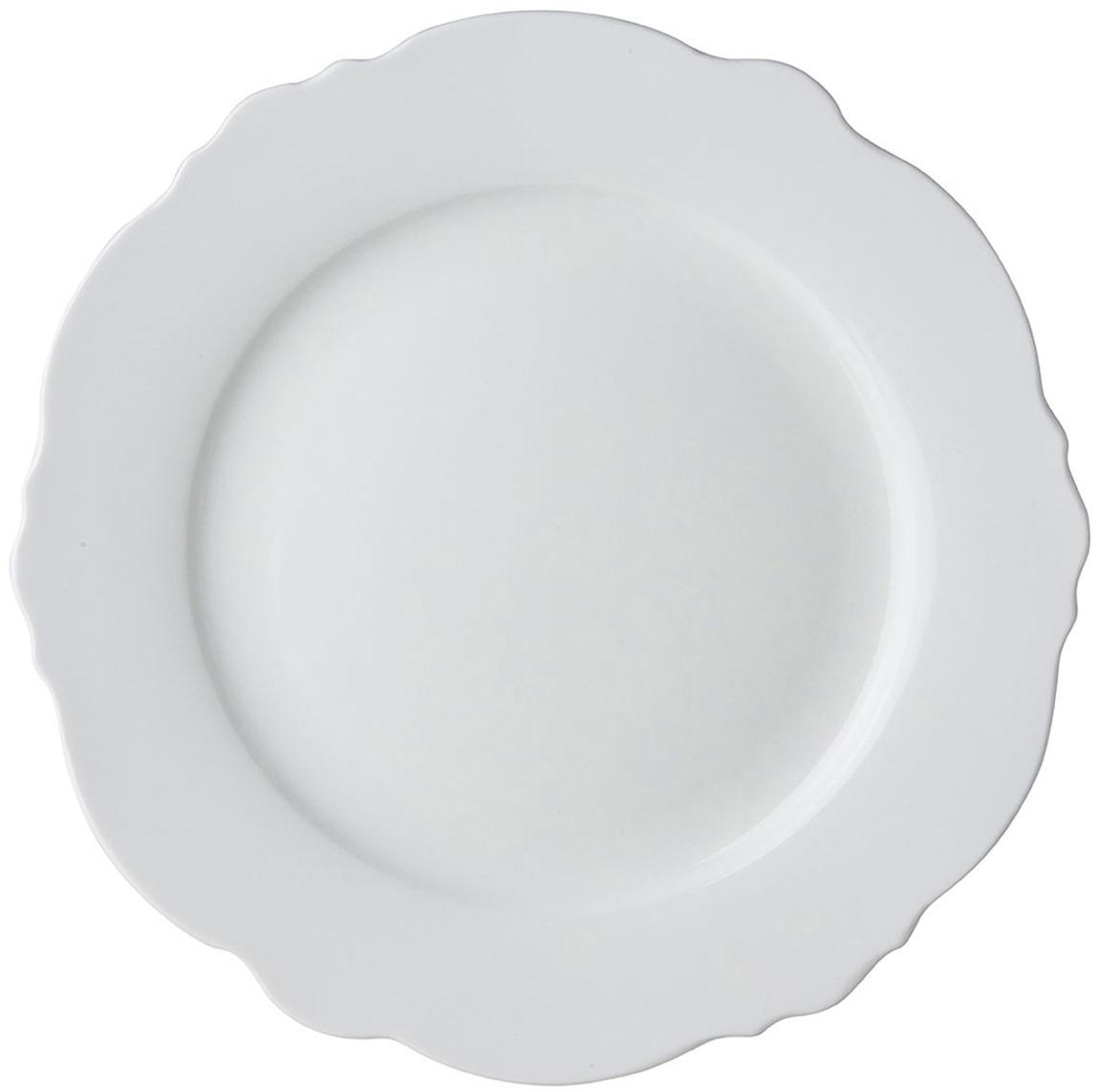 Dinerborden Muschel Loft, 4 stuks, Porselein, Wit, Ø 26 x H 2 cm