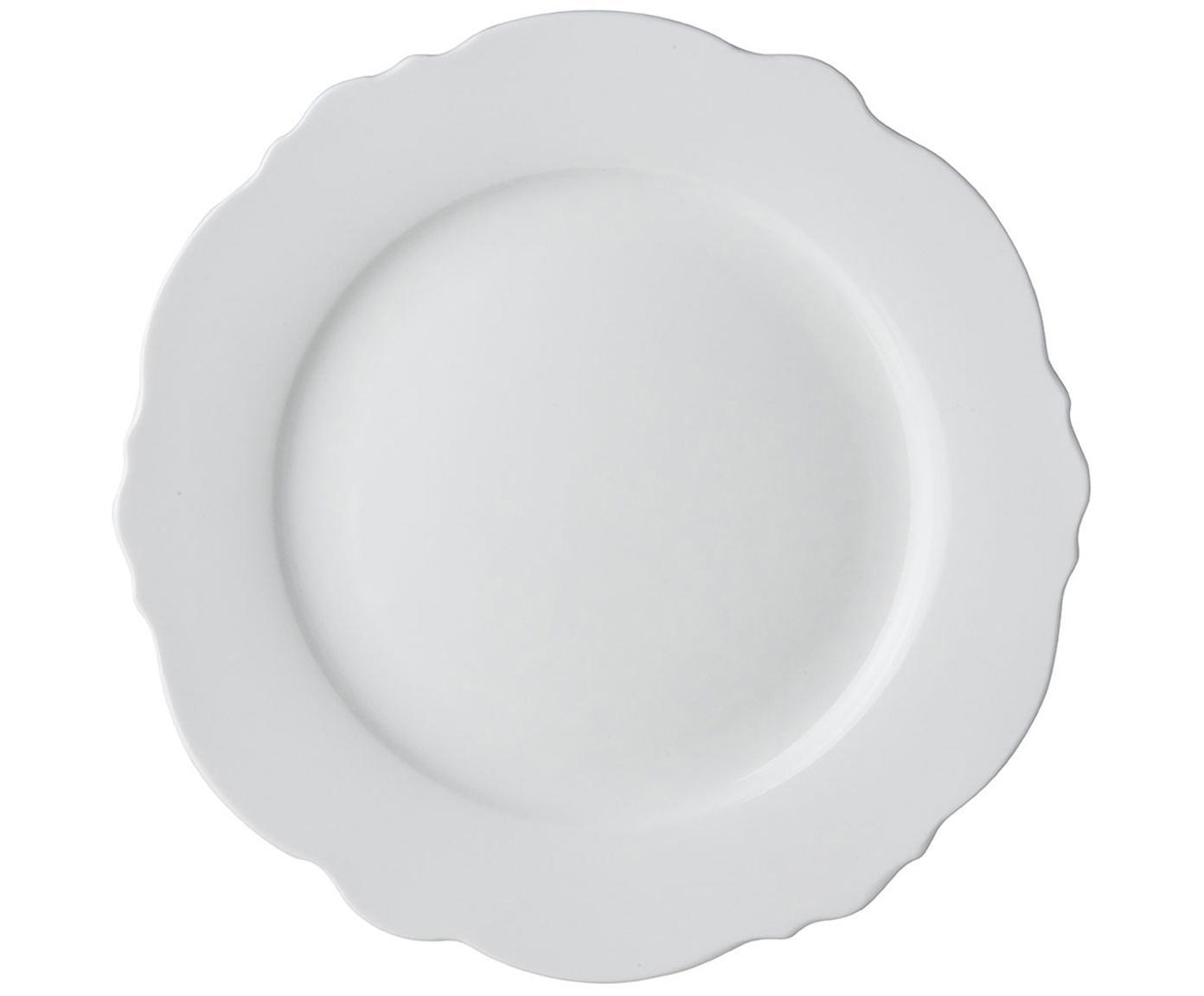 Speiseteller Muschel Loft mit geschwungenem Rand, 4 Stück, Porzellan, Weiß, Ø 26 x H 2 cm