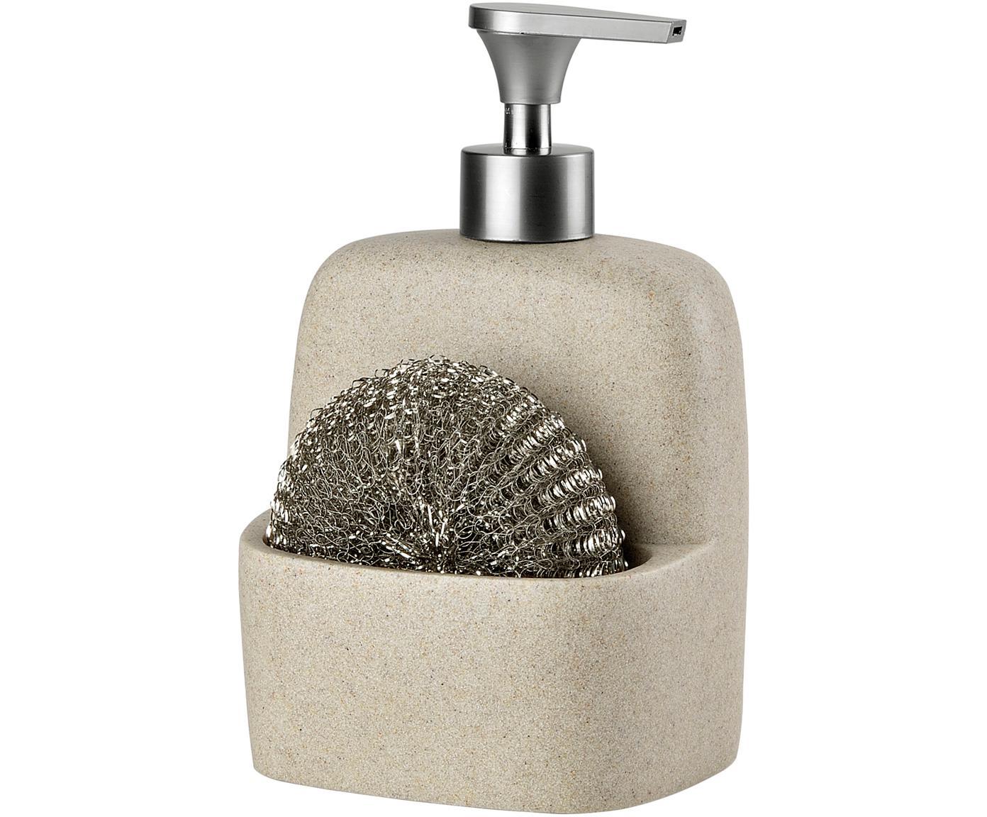 Set de dosificador de jabón Sand, 2pzas., Estropajo: metal, Beige, plateado, Ancho 11 x Alto 19 cm