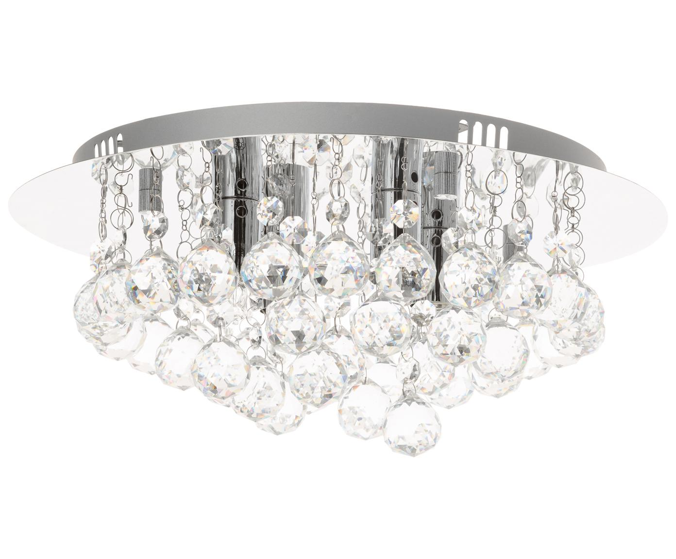Deckenleuchte Helena mit Glaskristallen, Metall und Kristall, Silber, Ø 35 x H 18 cm