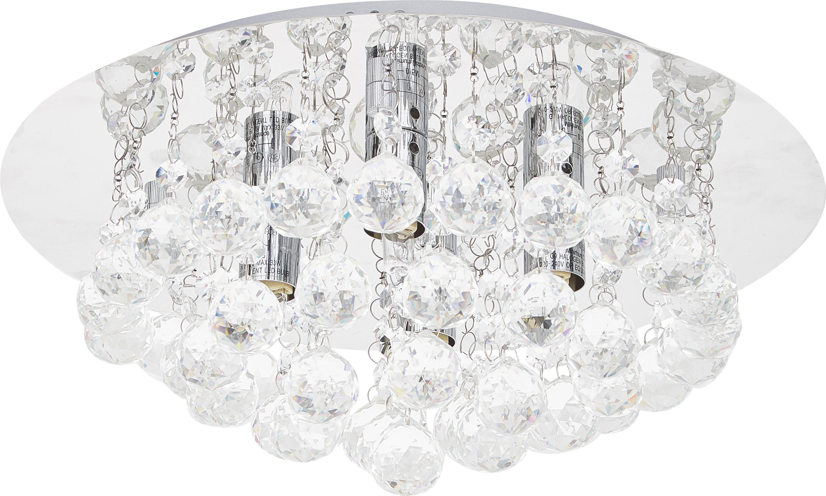 Plafondlamp Helena met glaskristallen, Metaal en kristalglas, Zilverkleurig, Ø 35 x H 18 cm