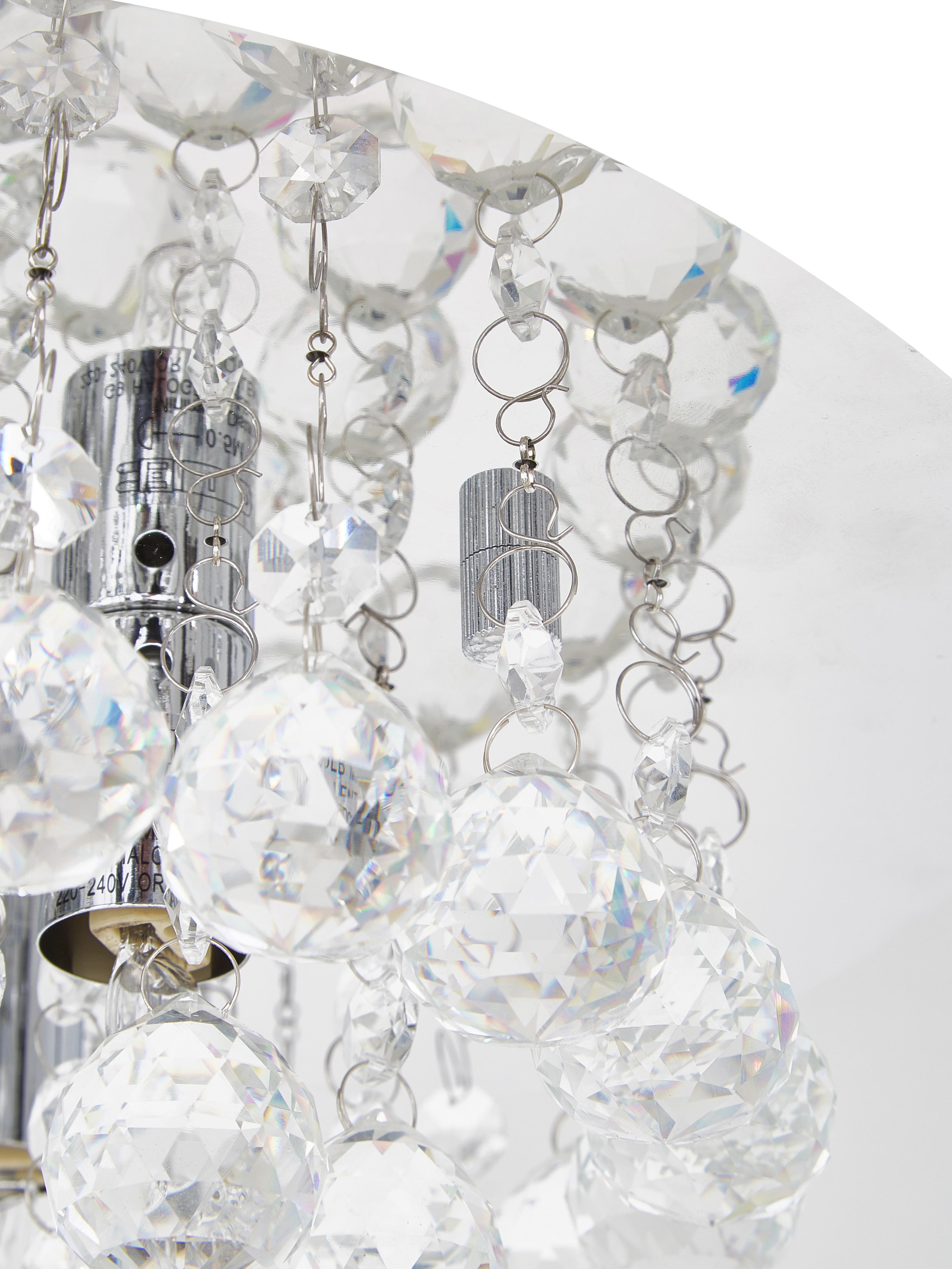 Plafonnier avec cristaux de verre Helena, Argent