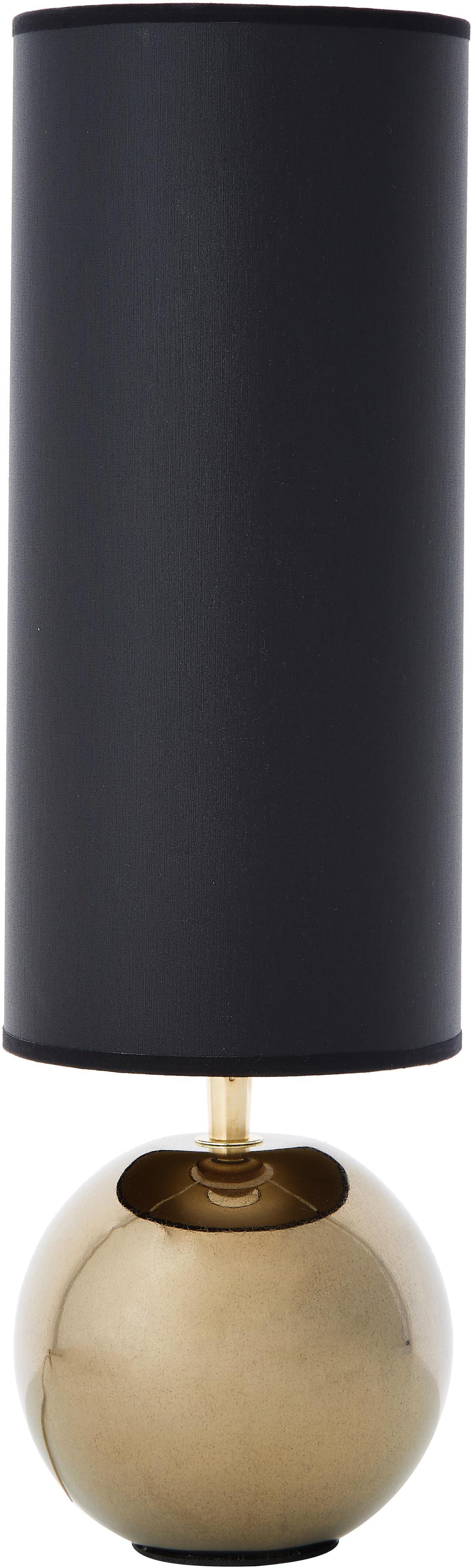 Keramische tafellamp Neve, Lampenkap: polyester, Lampvoet: keramiek, Zwart, goudkleurig, Ø 15 x H 52 cm