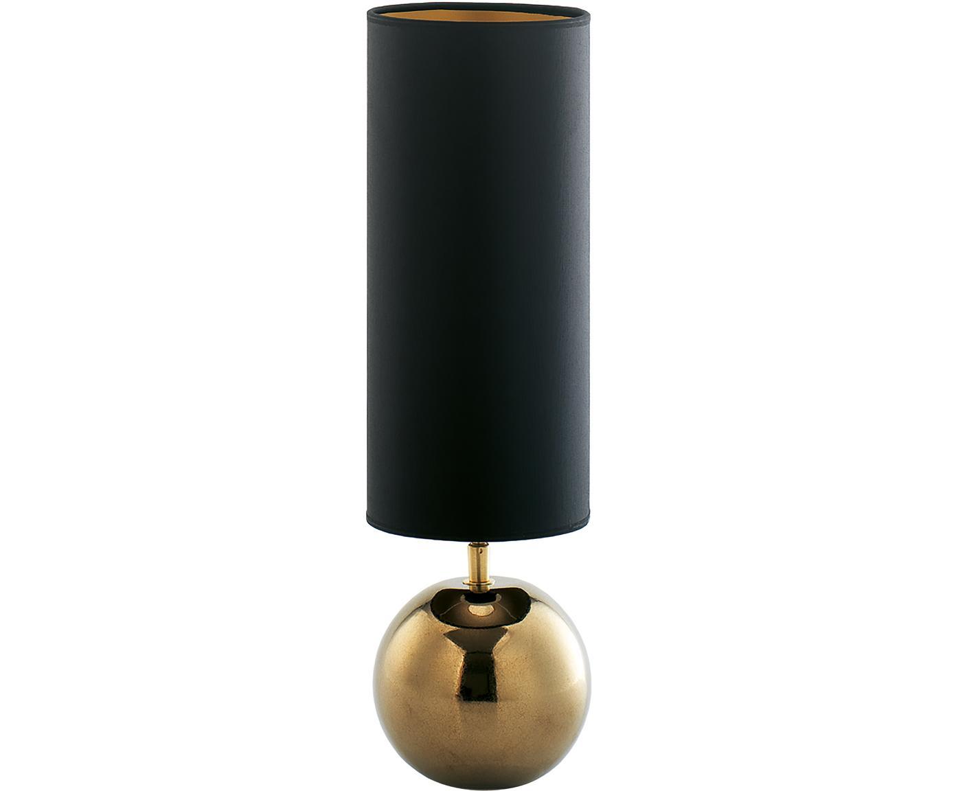 Keramik-Tischleuchte Neve, Lampenschirm: Polyester, Lampenfuß: Keramik, Schwarz, Goldfarben, Ø 15 x H 52 cm