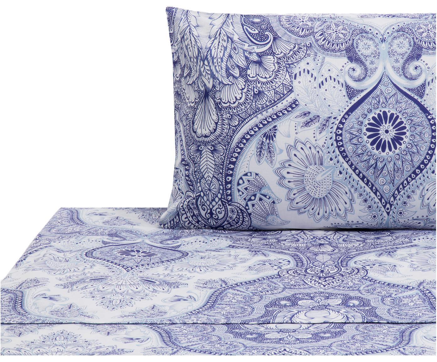 Set lenzuola in cotone Lato 2 pz, Cotone, Tonalità blu, bianco, 160 x 270 cm