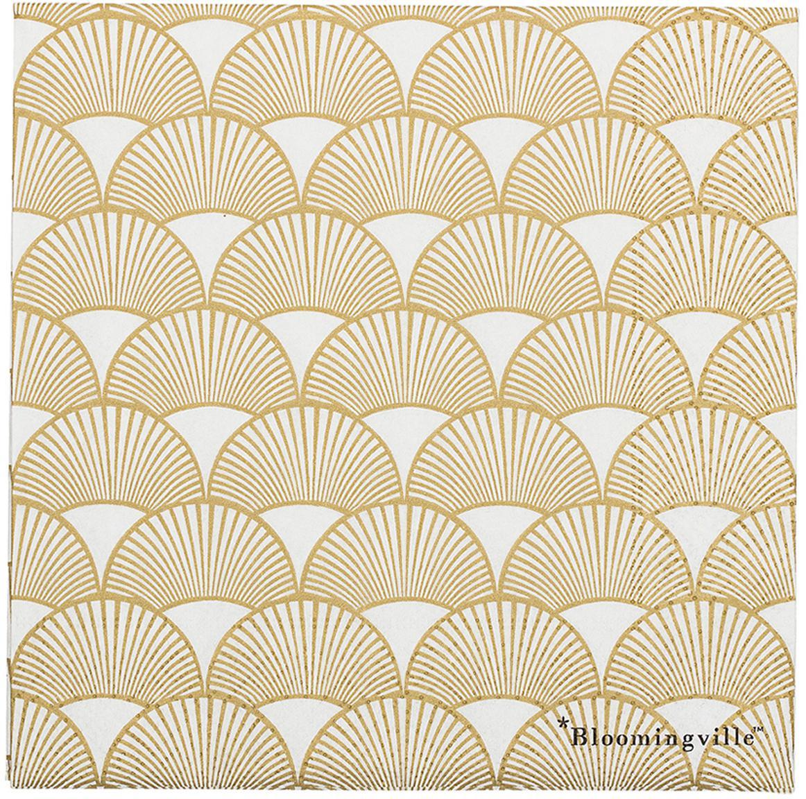 Papieren servetten Sun, 20 stuks, Papier, Goudkleurig, wit, 33 x 33 cm