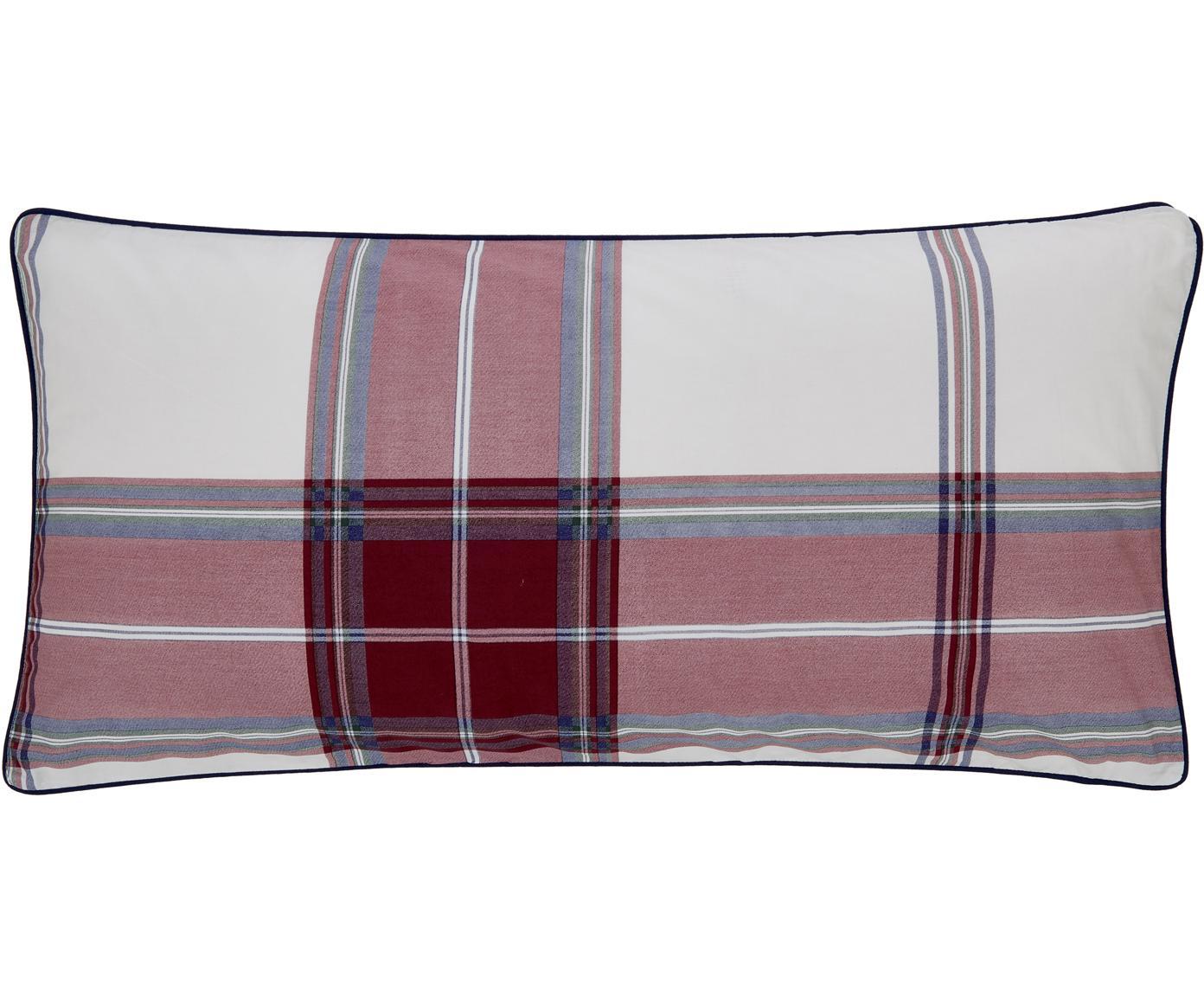Karierte Baumwollperkal-Kissenbezüge Scarlet mit Keder, 2 Stück, Webart: Perkal Fadendichte 180 TC, Cremeweiß, Rot, Blau, 40 x 80 cm