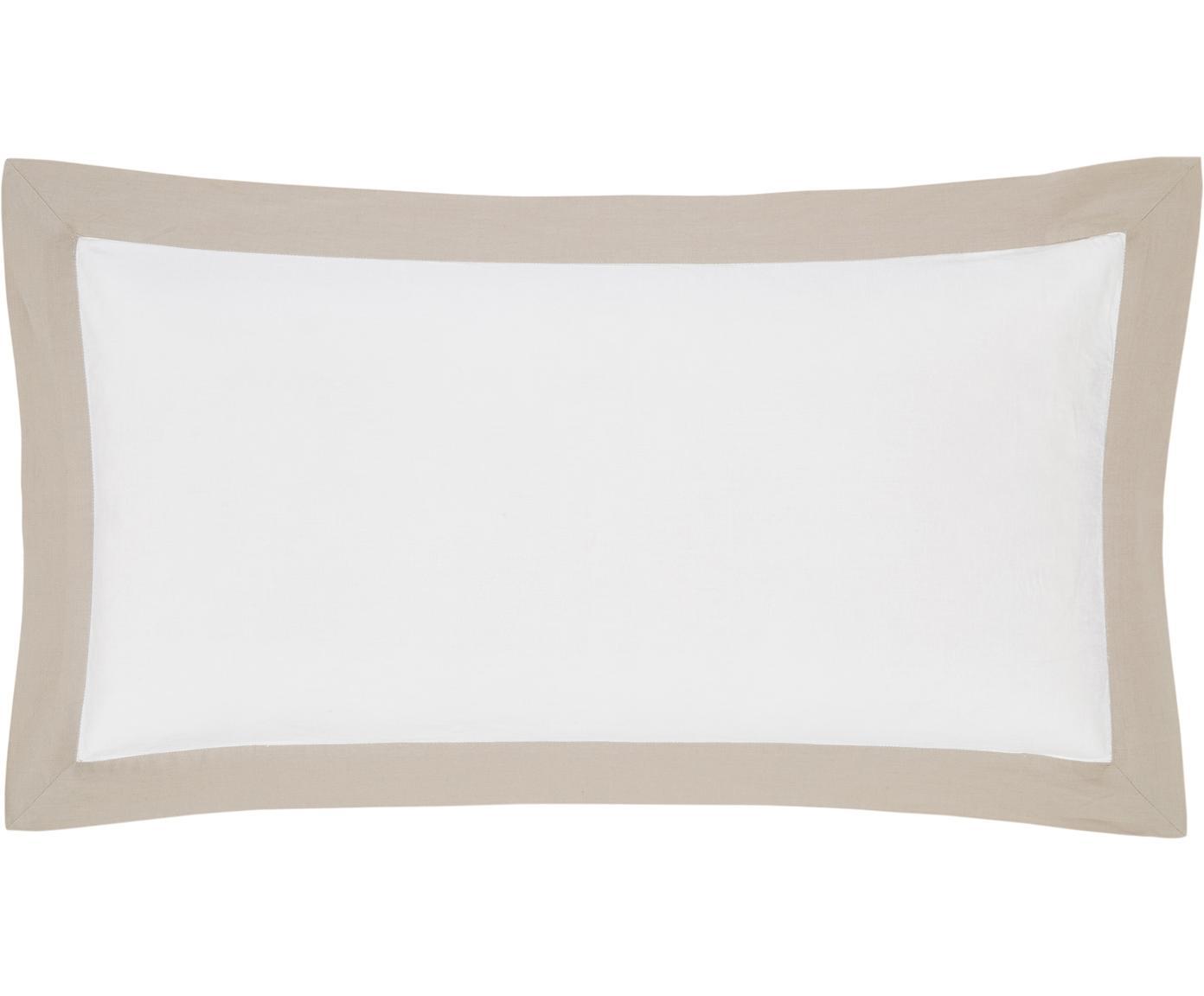Gewaschene Leinen-Kissenbezüge Eleanore in Weiß/Beige, 2 Stück, Halbleinen (52% Leinen, 48% Baumwolle)  Fadendichte 136 TC, Standard Qualität  Halbleinen hat von Natur aus einen kernigen Griff und einen natürlichen Knitterlook, der durch den Stonewash-Effekt verstärkt wird. Es absorbiert bis zu 35% Luftfeuchtigkeit, trocknet sehr schnell und wirkt in Sommernächten angenehm kühlend. Die hohe Reißfestigkeit macht Halbleinen scheuerfest und strapazierfähig., Weiß, Beige, 40 x 80 cm