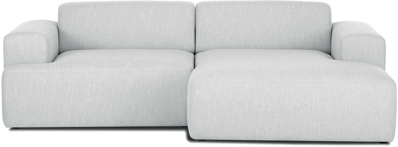 Hoekbank Melva (3-zits), Bekleding: polyester, Frame: massief grenenhout, spaan, Poten: grenenhout, Geweven stof lichtgrijs, B 240 x D 144 cm