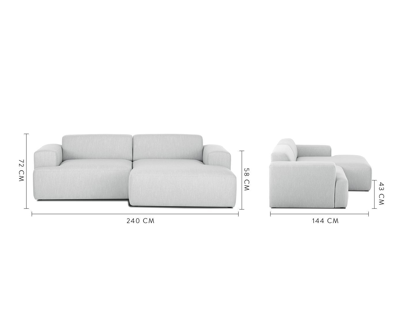 Ecksofa Melva (3-Sitzer), Bezug: Polyester Der hochwertige, Gestell: Massives Kiefernholz, Spa, Füße: Kiefernholz, Webstoff Hellgrau, B 240 x T 144 cm