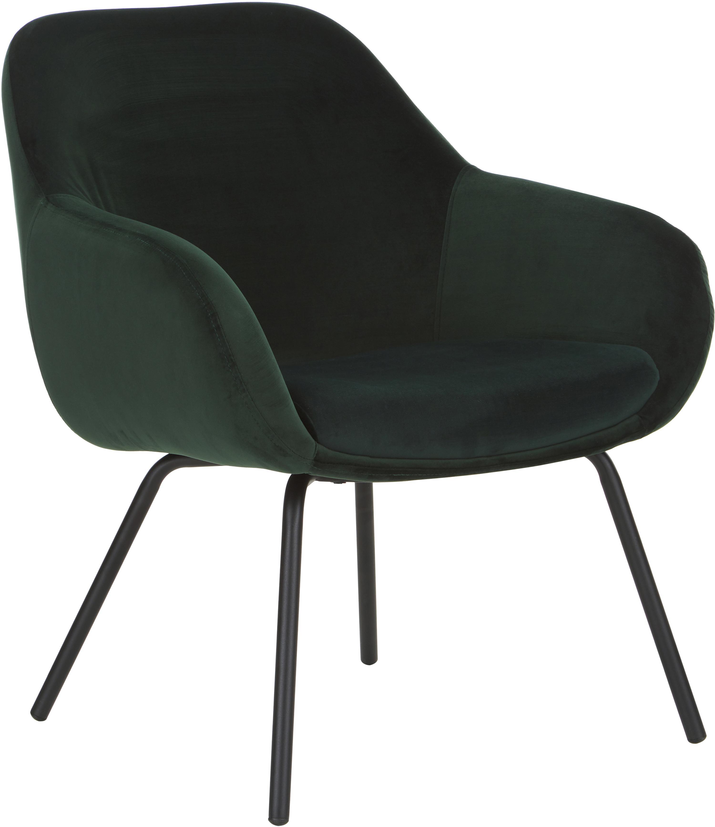 Samt-Sessel Jana, Bezug: Samt (Polyester) 25.000 S, Beine: Metall, pulverbeschichtet, Samt Dunkelgrün, B 72 x T 68 cm