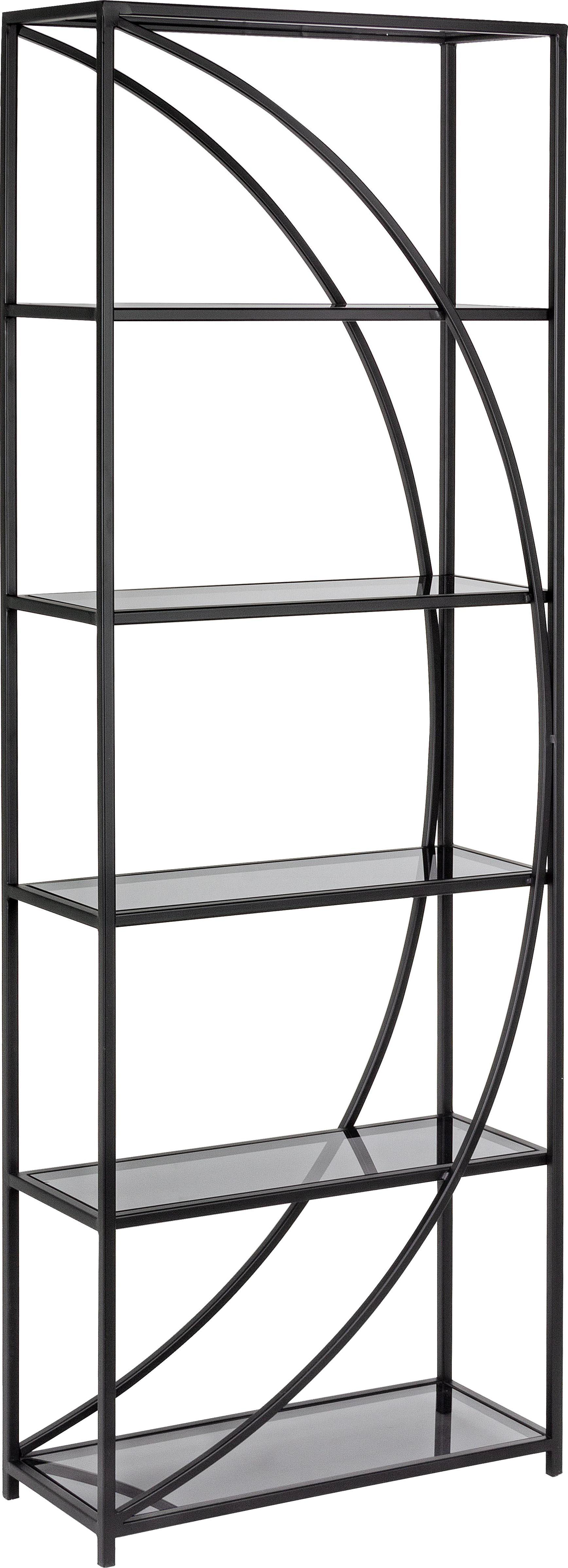 Estantería de metal Korvet, Estructura: metal epoxidado con pintu, Estantes: vidrio, Negro, gris, transparente, An 61 x Al 178 cm