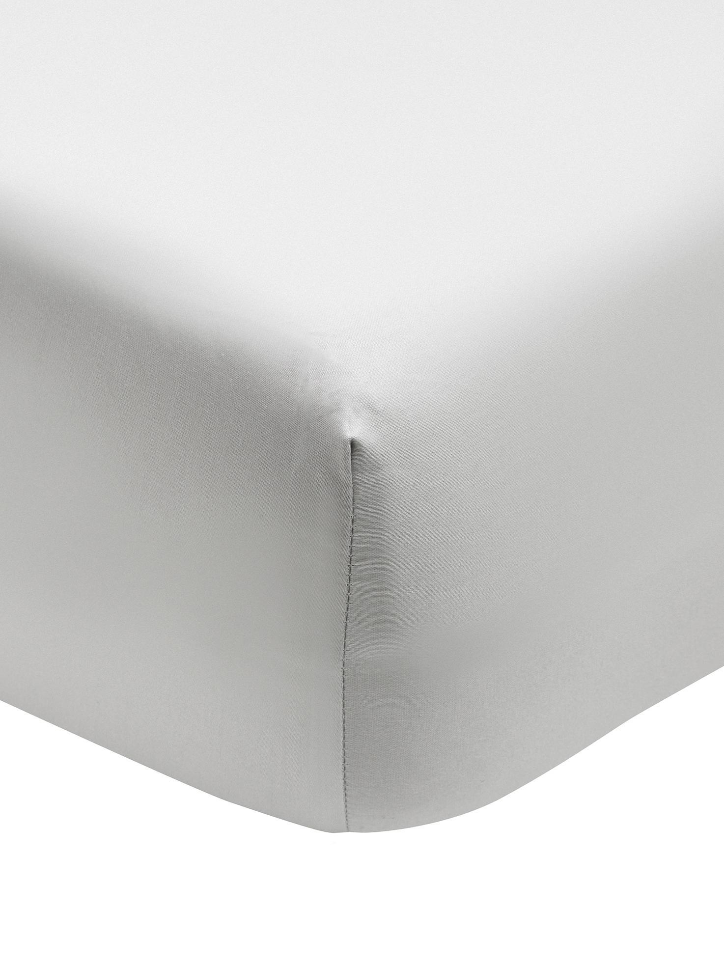 Lenzuolo con angoli in  raso di cotone Premium, Tessuto: raso, leggermente lucido, Grigio chiaro, Singolo