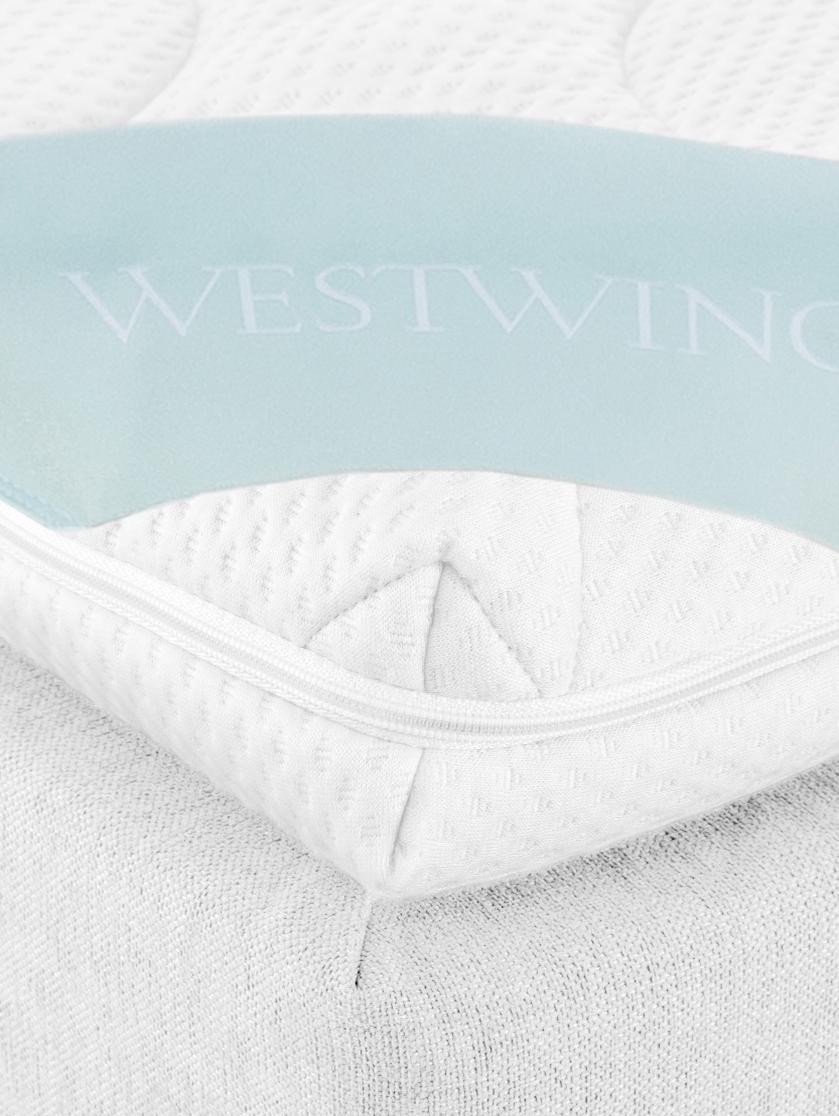 Premium Boxspringbett Lacey, Matratze: 7-Zonen-Taschenfederkern , Füße: Massives Buchenholz, lack, Helles Weiß-Grau, 140 x 200 cm