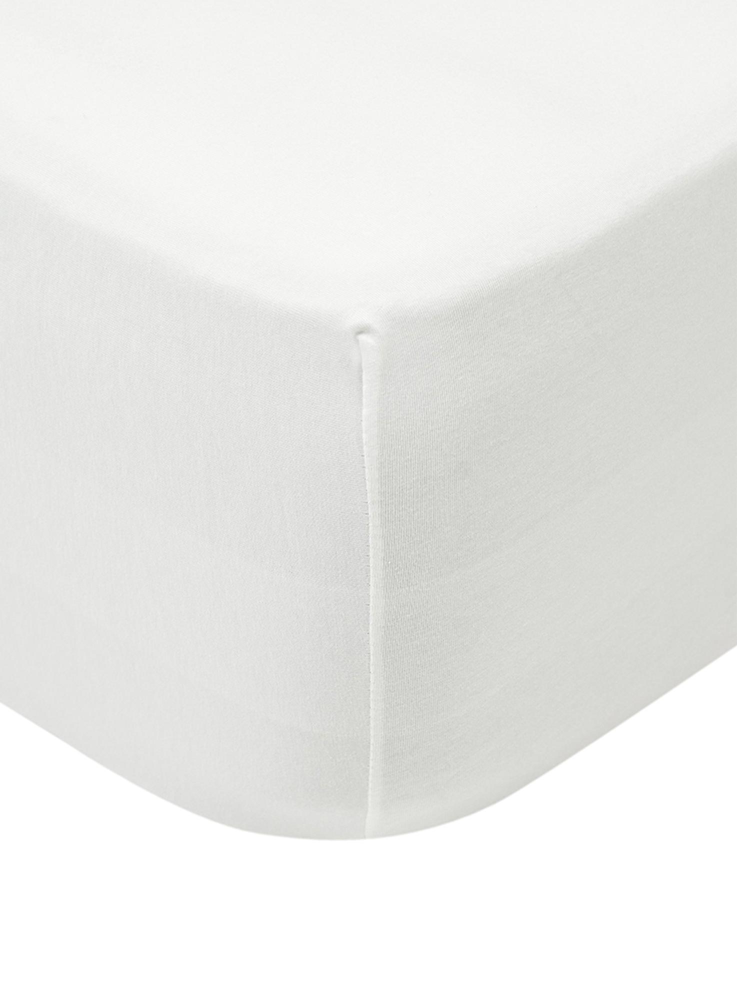 Sábana bajera para cubrecolchón de jersey con elastano Lara, 95%algodón, 5%elastano, Crema, Cama 150 cm (160 x 200 cm)