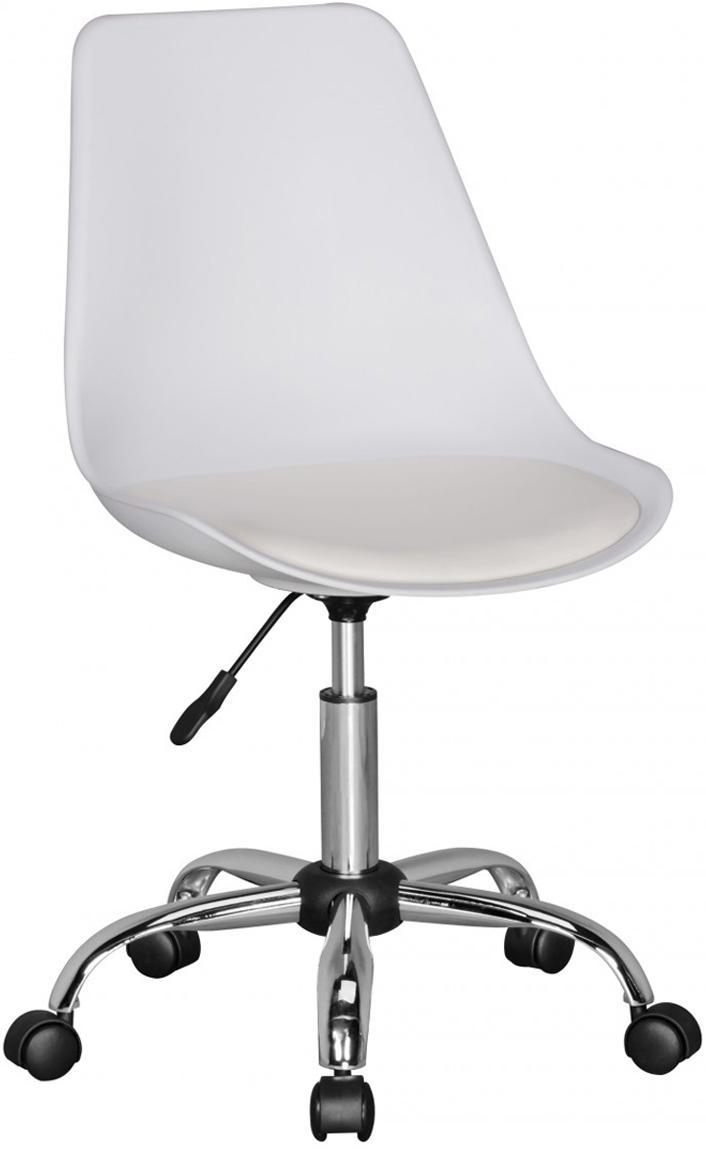 Sedia da ufficio girevole Corsica, Seduta: similpelle, Struttura: metallo cromato, Ruote: plastica, Bianco, cromo, Larg. 47 x Prof. 46 cm