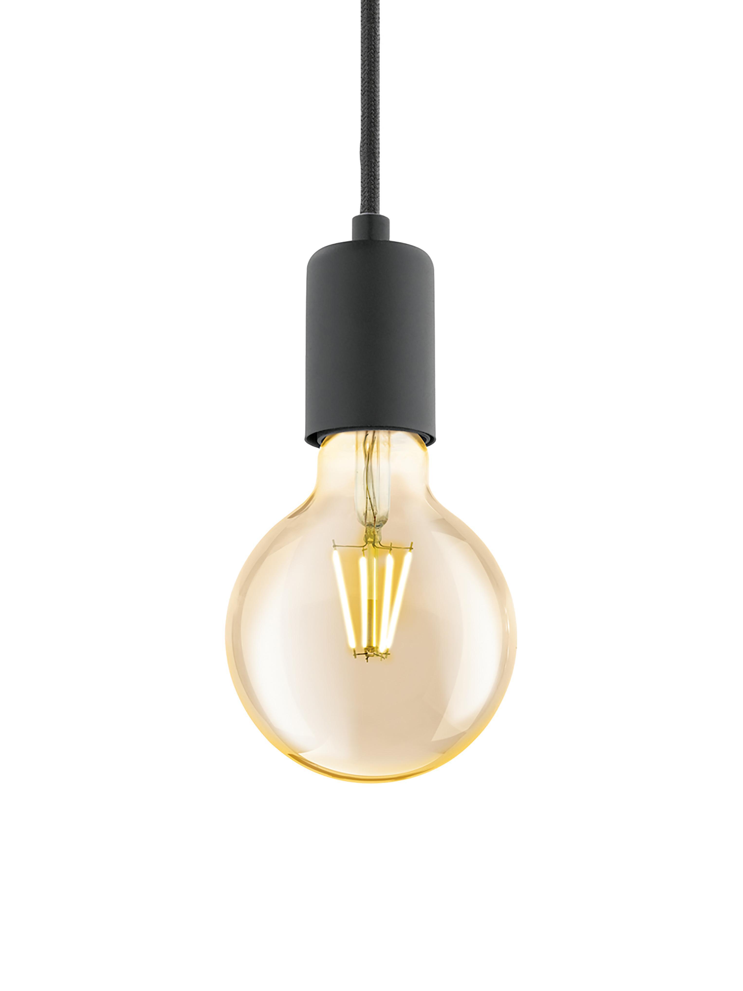 Lámpara de techo Trey, Anclaje: metal con pintura en polv, Cable: cubierto en tela, Negro mate, ∅ 10 x Al 8 cm