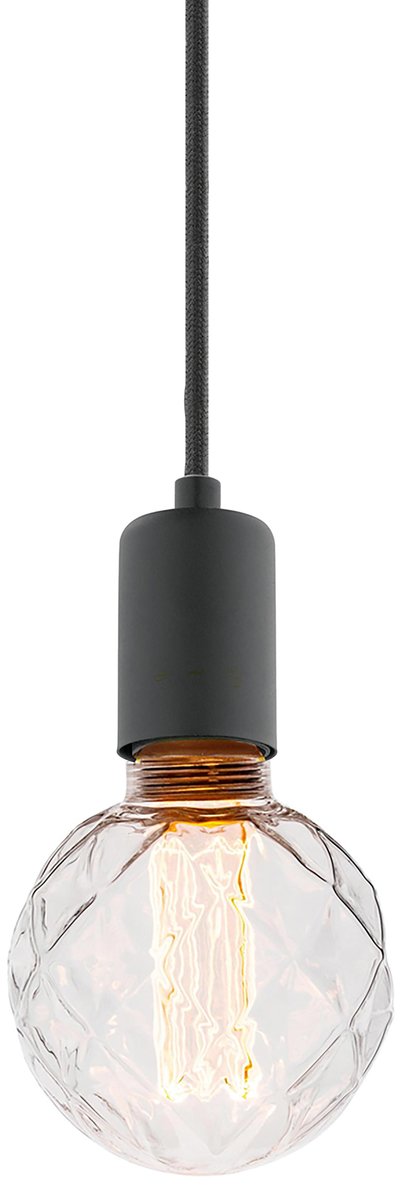 Suspension ampoule nue Trey, Noir, mat