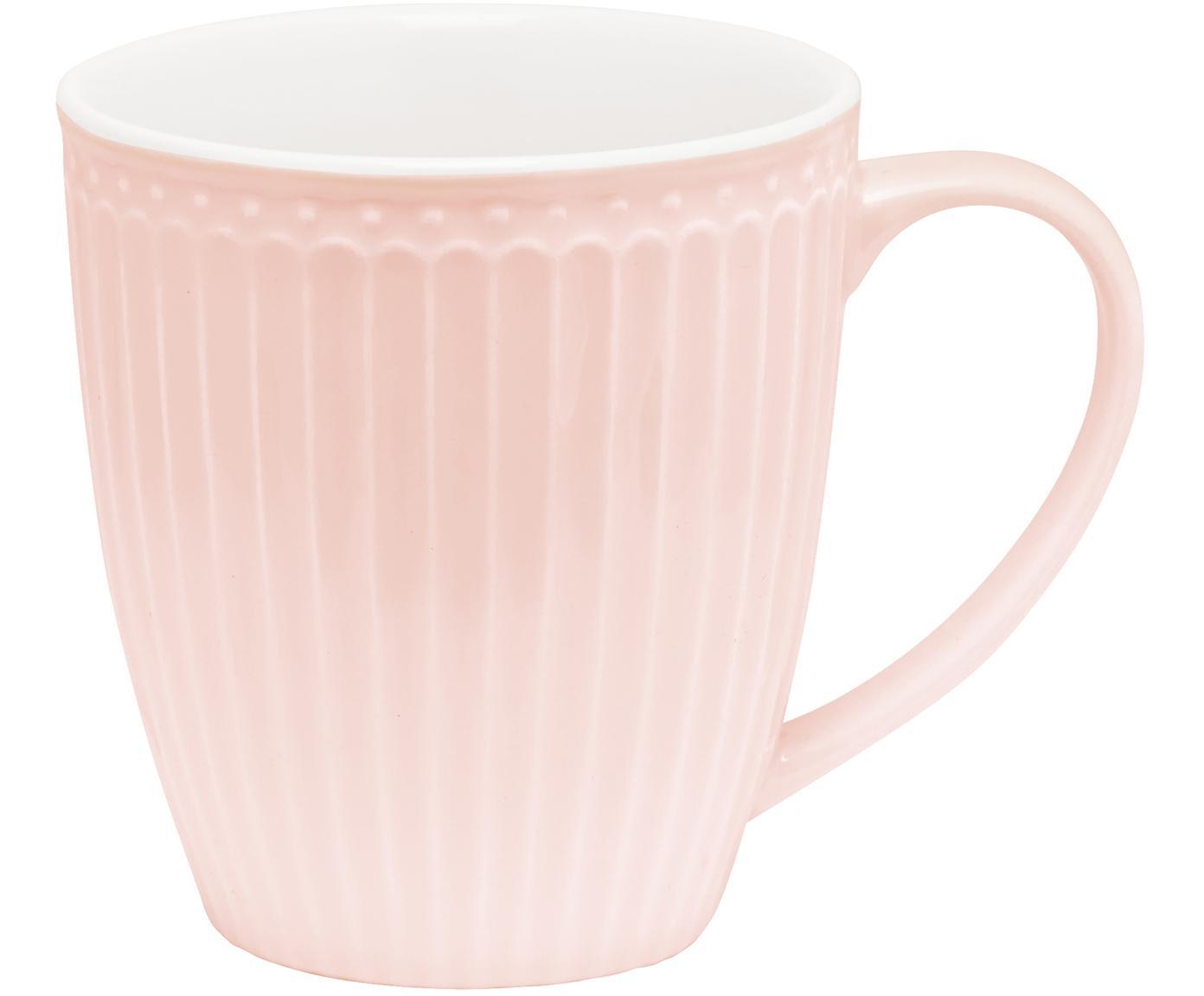 Handgefertigte Tassen Alice in Rosa mit Reliefdesign, 2 Stück, Steingut, Rosa, Ø 10 x H 10 cm