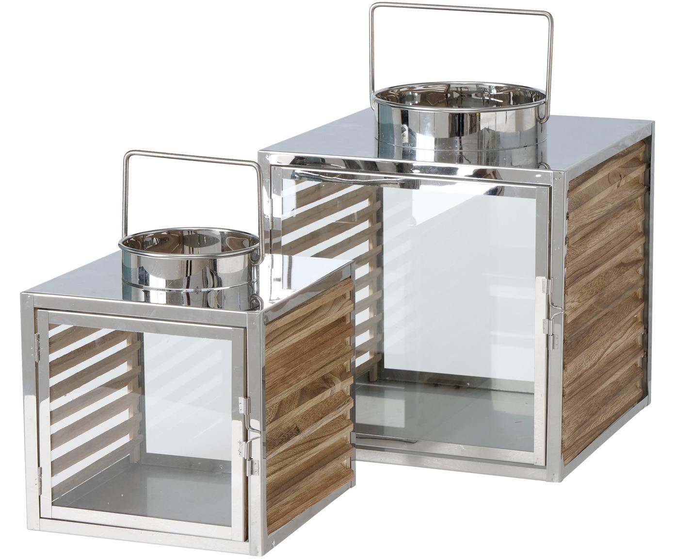 Laternen-Set Malmok, 2-tlg., Edelstahl, Holz, Glas, Silberfarben, Sondergrößen