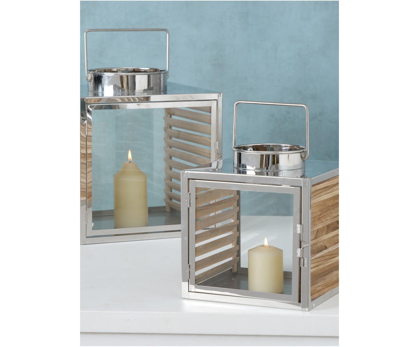 Set de farolillos Malmok, 2pzas., Acero inoxidable, madera, vidrio, Plateado, Tamaños diferentes