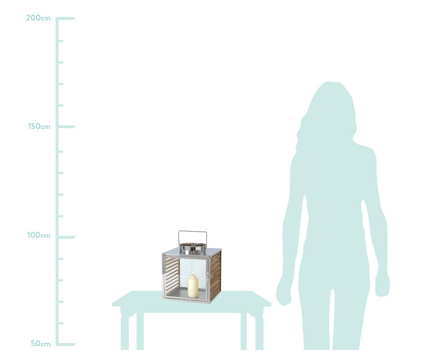 Lantaarnsset Malmok, 2-delig, Edelstaal, hout, glas, Zilverkleurig, Verschillende formaten