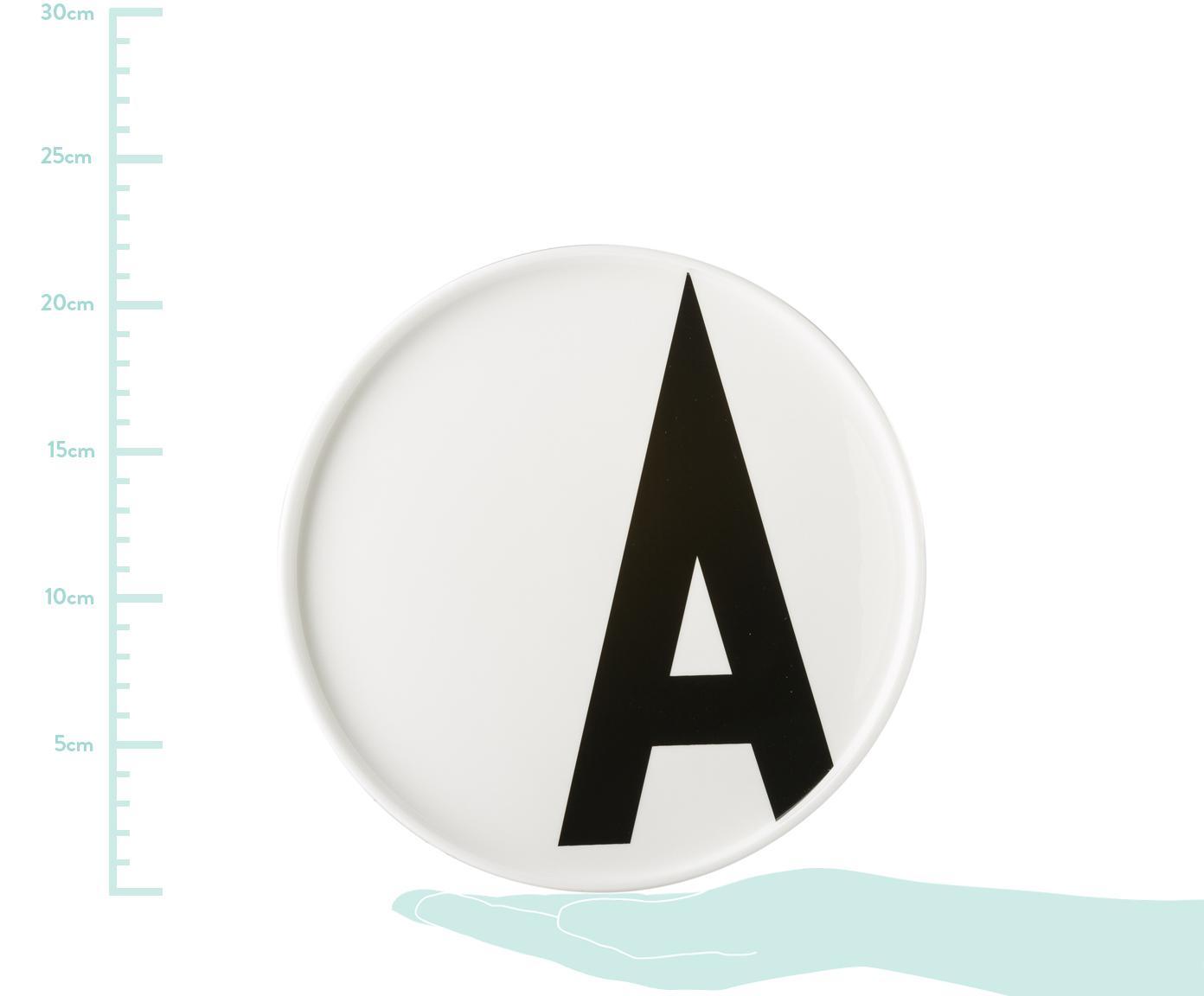 Design Frühstücksteller Personal mit Buchstaben (Varianten von A bis Z), Fine Bone China (Porzellan), Weiss, Schwarz, Teller A