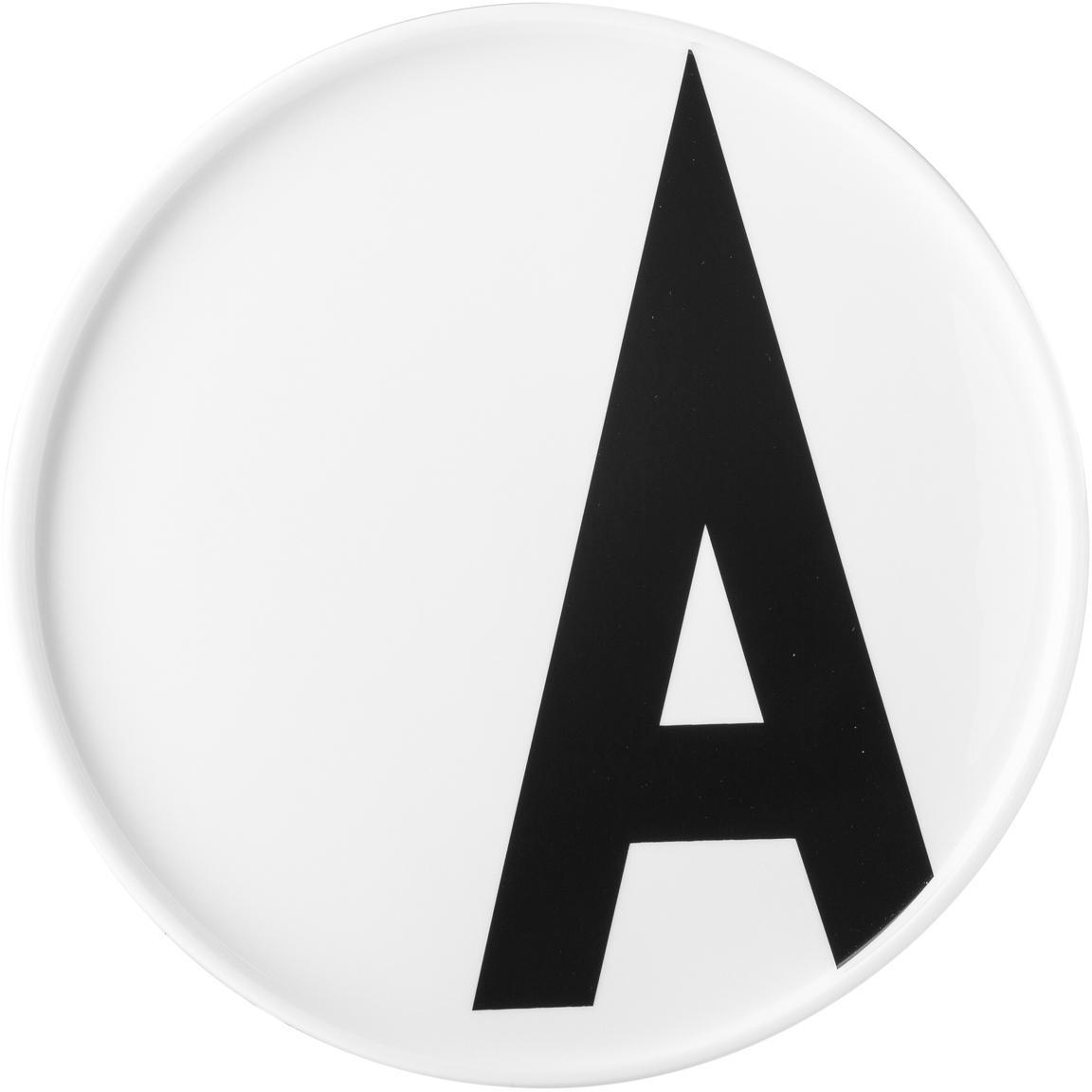 Plato postre de diseño Personal (variantes de A a Z), Porcelana fina de hueso (porcelana) Fine Bone China es una pasta de porcelana fosfática que se caracteriza por su brillo radiante y translúcido., Blanco, negro, Ø 22 x Al 2 cm