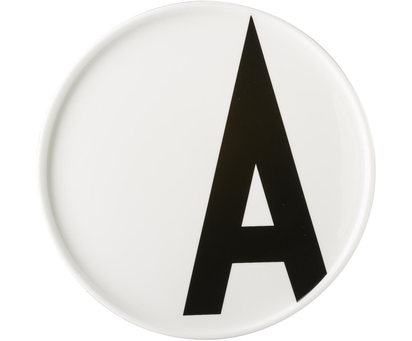 Piatto A (varianti dalla A alla Z), Porcellana Fine Bone China, Bianco, nero, Ø 22 x Alt. 2 cm