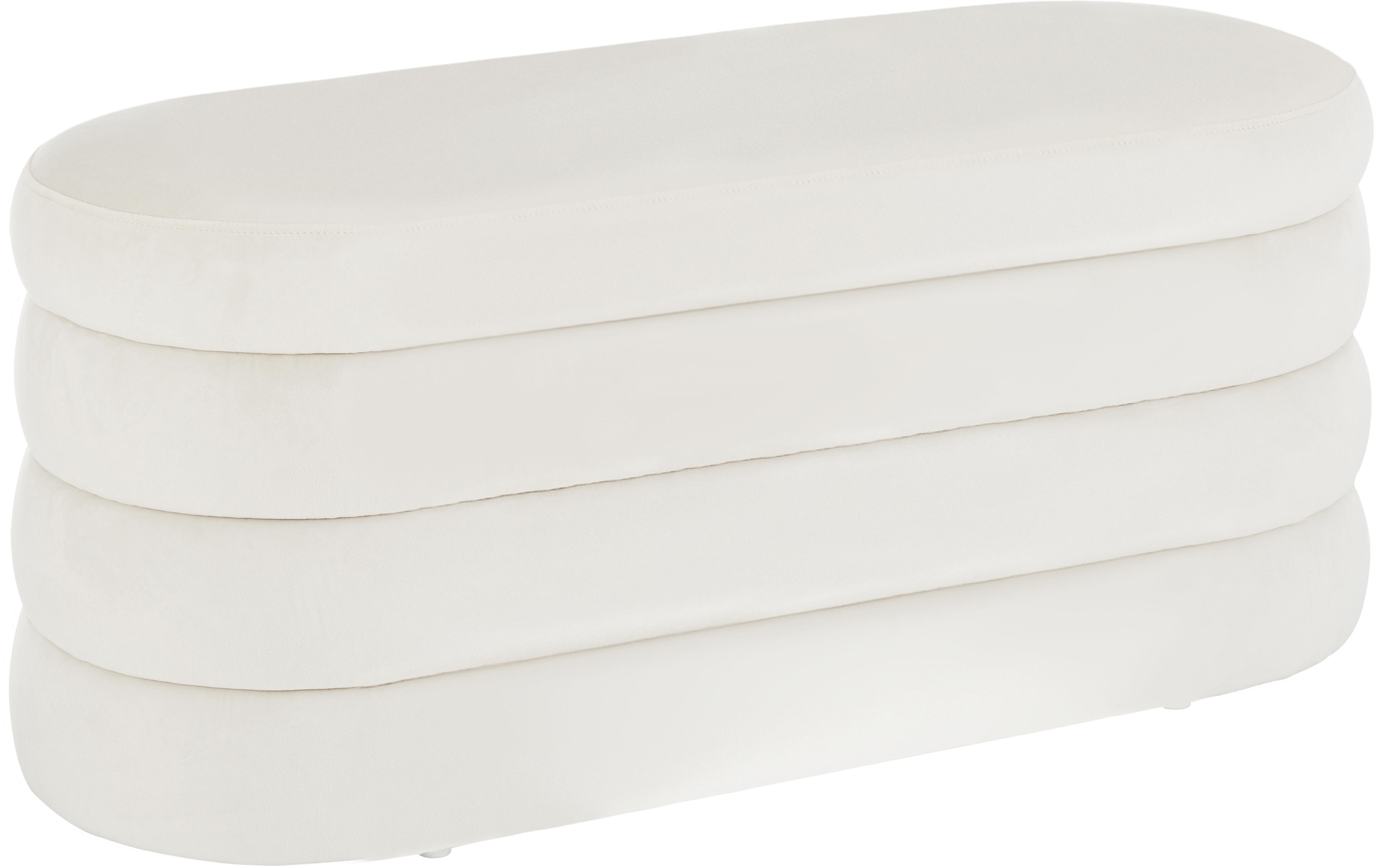 Ławka tapicerowana z aksamitu Alto, Tapicerka: aksamit (poliester) 3000, Stelaż: lite drewno sosnowe, skle, Kremowobiały, S 110 x W 48 cm