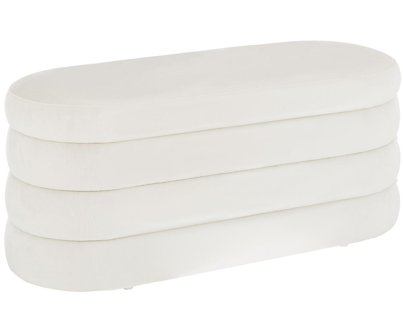Banco de terciopelo Alto, Tapizado: terciopelo (poliéster) 30, Estructura: madera de pino macizo, ma, Blanco crema, An 110 x Al 47 cm