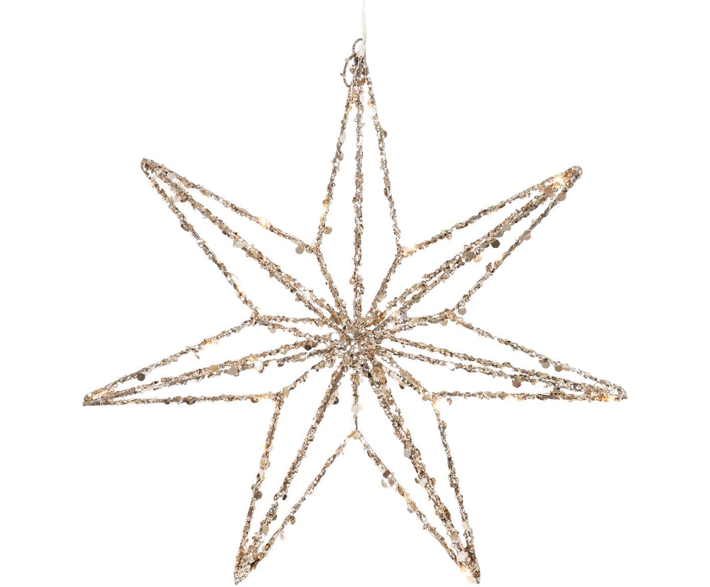 LED Leuchtstern Illumination, Metall, Kunststoff, Goldfarben, Ø 40 x H 8 cm