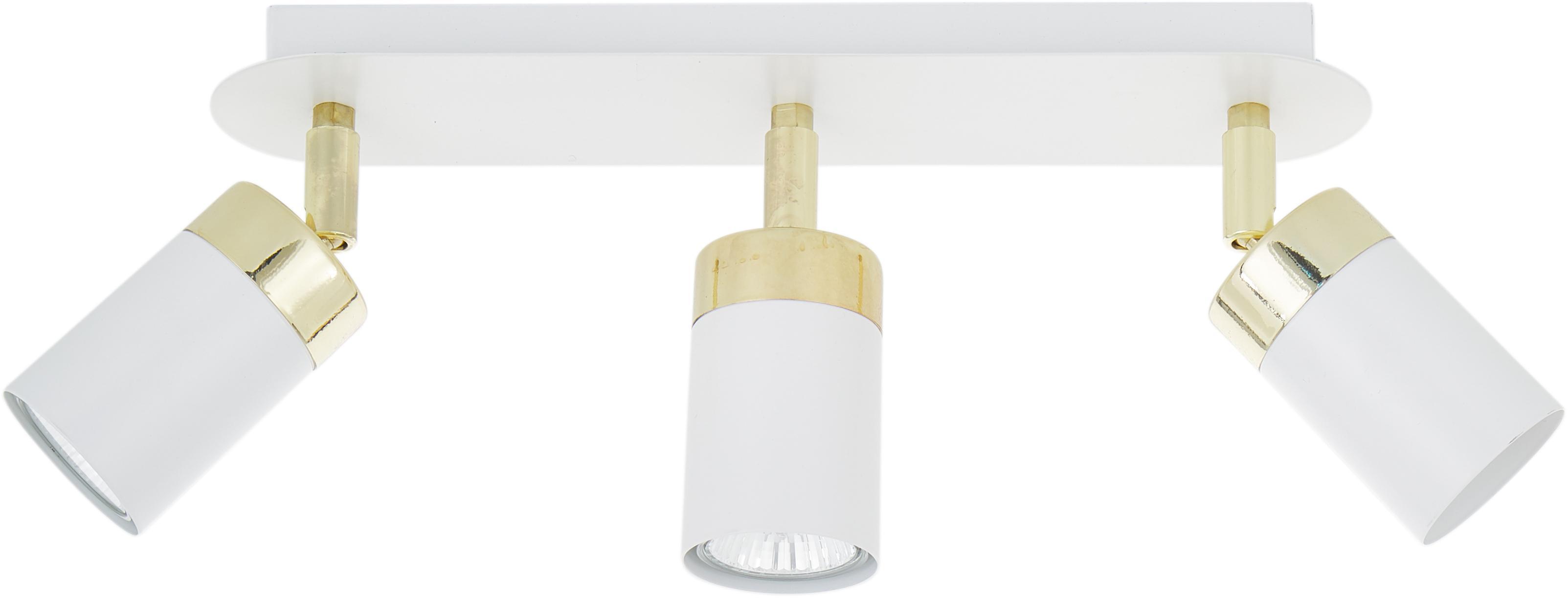 Plafondspot Joker in wit, Lampenkap: gelakt metaal, Wit, messingkleurig, 45 x 13 cm