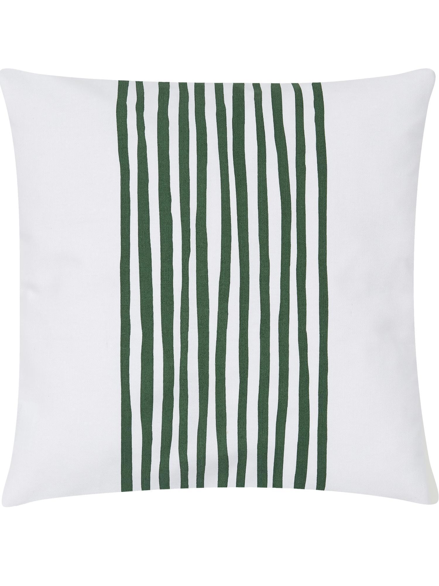 Kissenhülle Corey mit Streifen in Dunkelgrün/Weiß, 100% Baumwolle, Weiß, Dunkelgrün, 40 x 40 cm