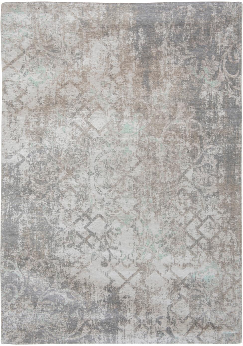 Vintage Chenilleteppich Babylon in Grau-Beige, Vorderseite: 100% Chenillegarn (Baumwo, Webart: Jacquard, Rückseite: Chenillegarn, latexbeschi, Grau, Beige, B 230 x L 330 cm (Größe L)