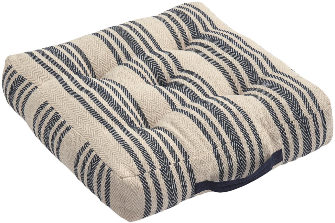 Cuscino da pavimento a righe Puket, Blu scuro, bianco, Larg. 60 x Lung. 13 cm